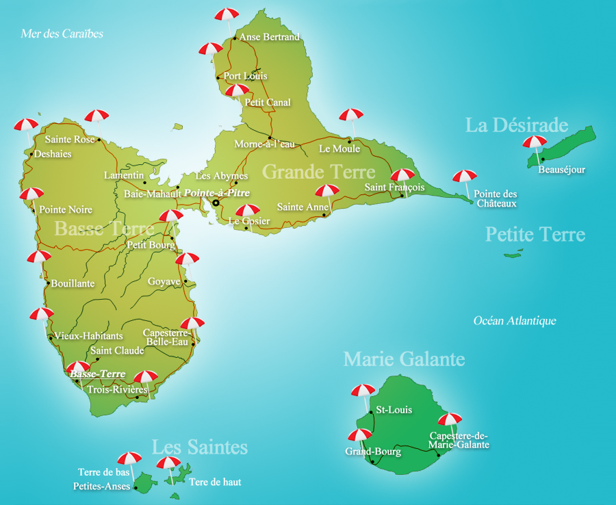 carte plage guadeloupe
